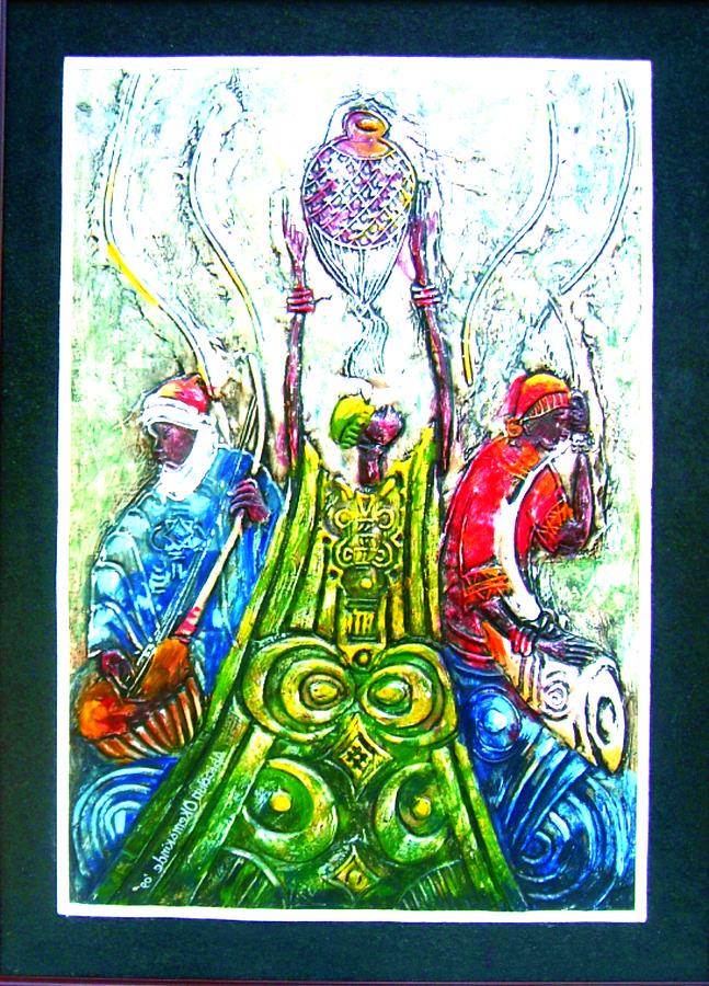 Music Painting - Traditonal Instrumentalist by Okemakinde John abiodun