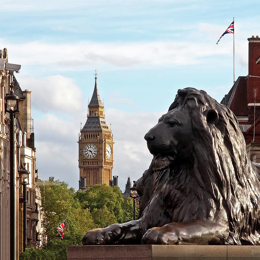 Trafalgar Square Photograph - Trafalgar Square Lion With Big Ben by Gill Billington