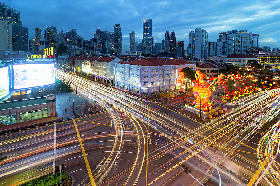 Singapore Photograph - Traffic Light Trails In Singapore Chinatown by David Gn