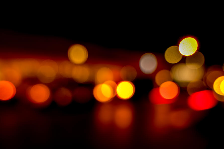 Out Of Focus Photograph - Traffic Lights Number 9 by Steve Gadomski