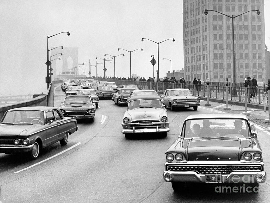 Traffic Off Of The Brooklyn Bridge. 1966 Photograph by Anthony Calvacca