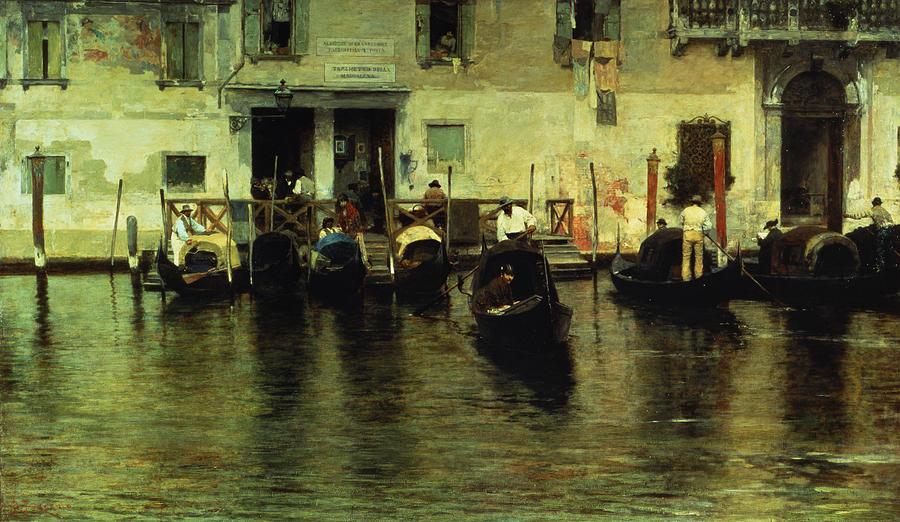 Della Painting - Traghetto Della Maddalena by Giacomo Favretto
