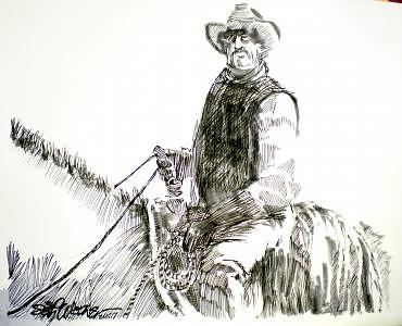 Cowboys Drawing - Trail Boss by Seth Weaver