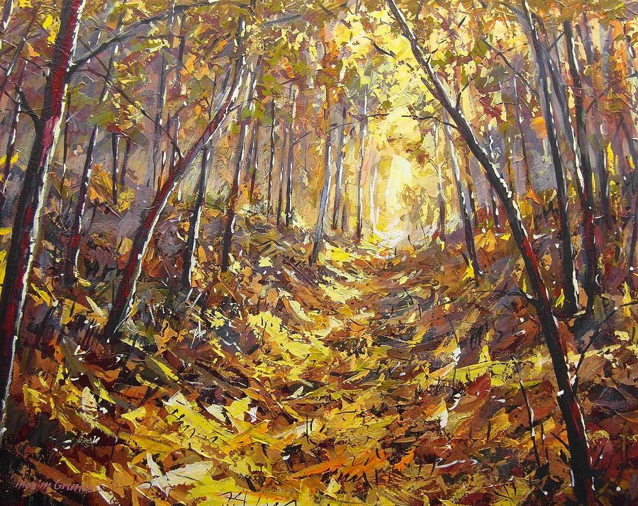 Landscape Painting - Trail By Ravine by Maxim Grunin