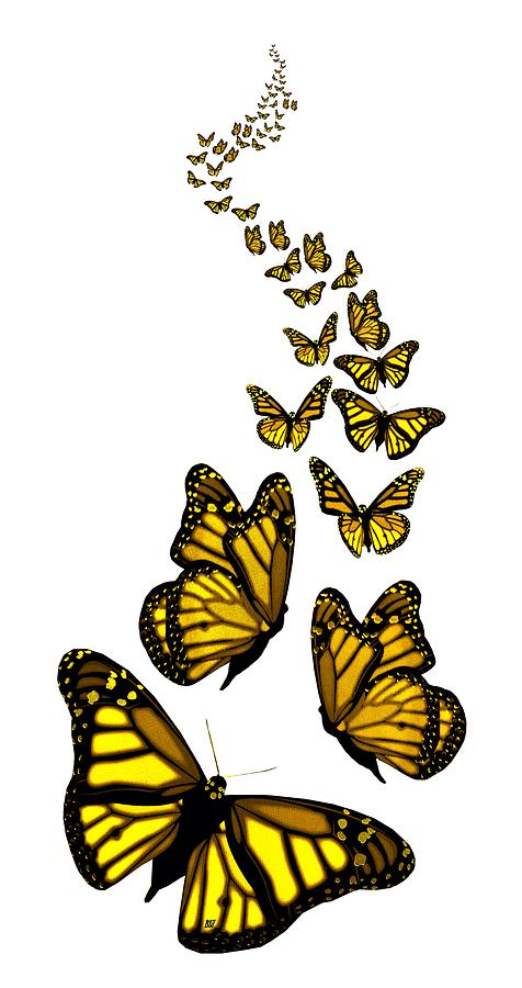 trail of the yellow butterflies transparent background