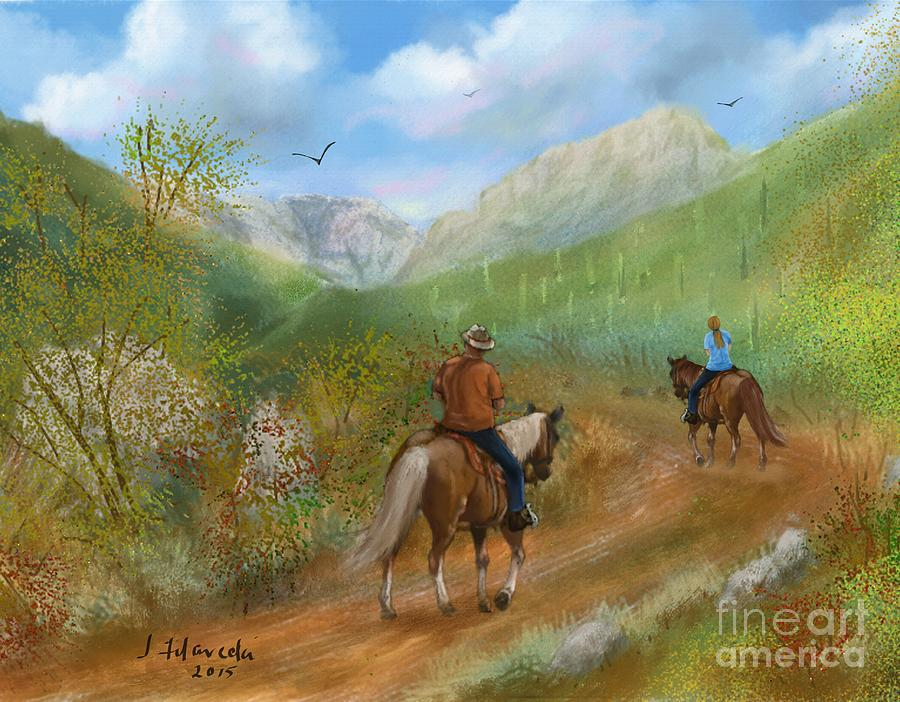Trail Ride Painting - Trail Ride in Sabino Canyon by Judy Filarecki