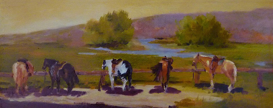 Trail Horses Painting - Trail Riding  by Xx X