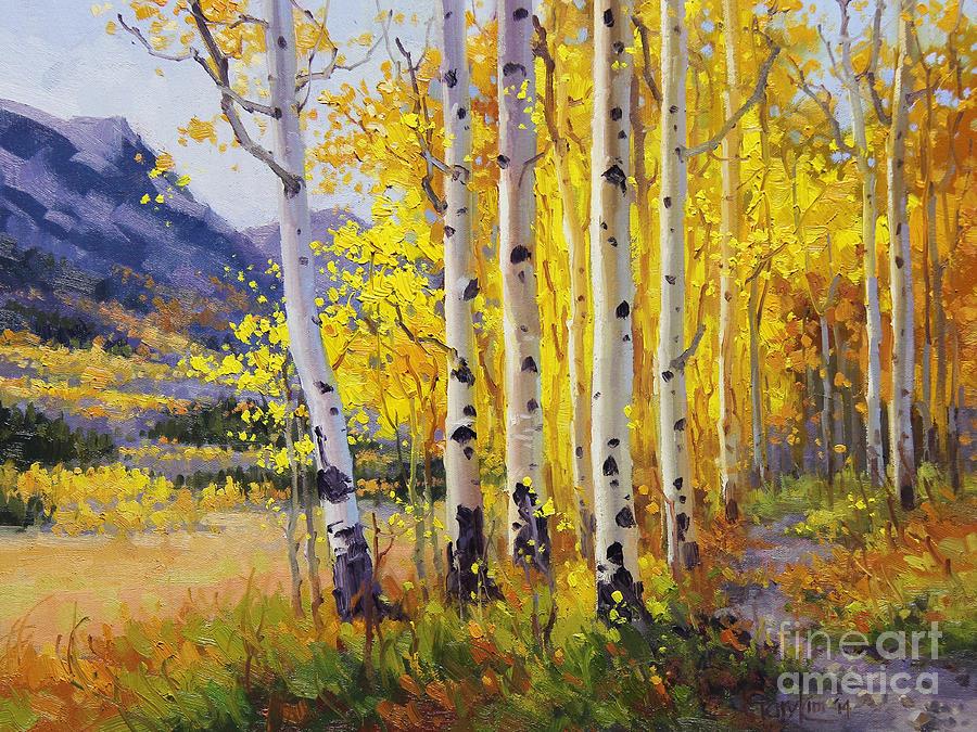 Gary Painting - Trail through Golden Aspen  by Gary Kim