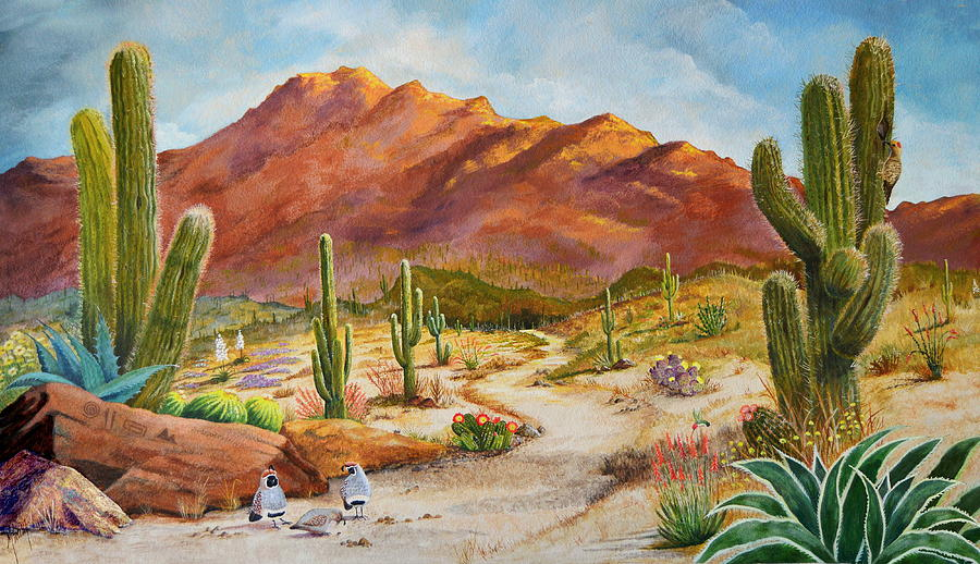 Desert Scene Painting - Trail To The San Tans by Marilyn Smith