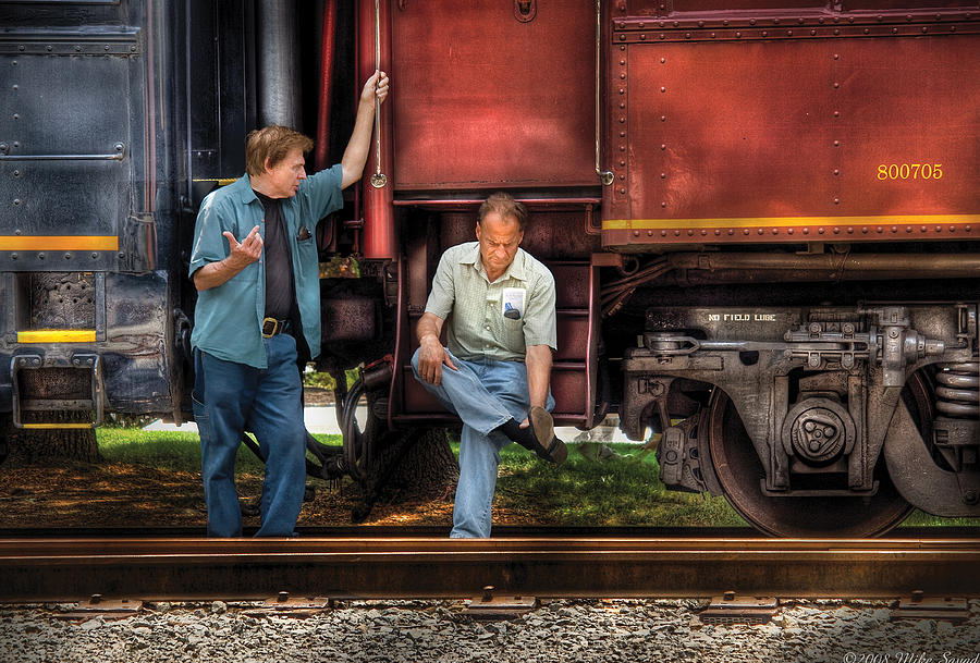 Savad Photograph - Train - Yard - Shootin The Breeze by Mike Savad