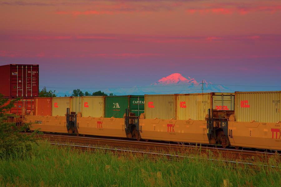 Mount Baker Photograph - Train And Mount Baker by Paul Kloschinsky