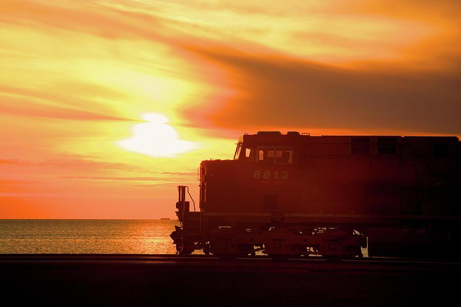 Train Photograph - Train And Sunset by Paul Kloschinsky