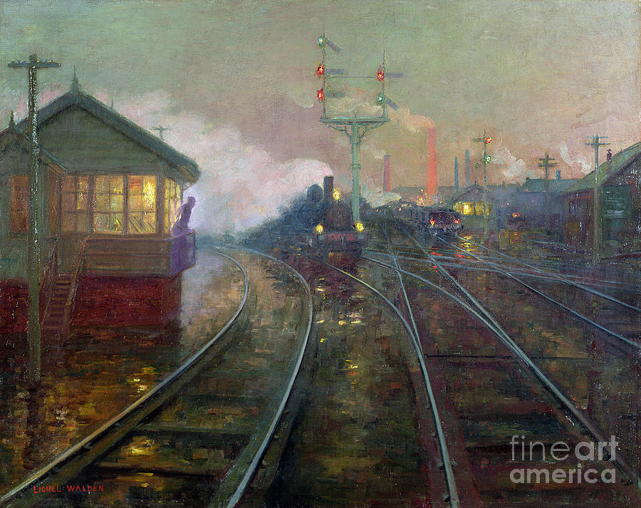Train Painting - Train At Night by Lionel Walden