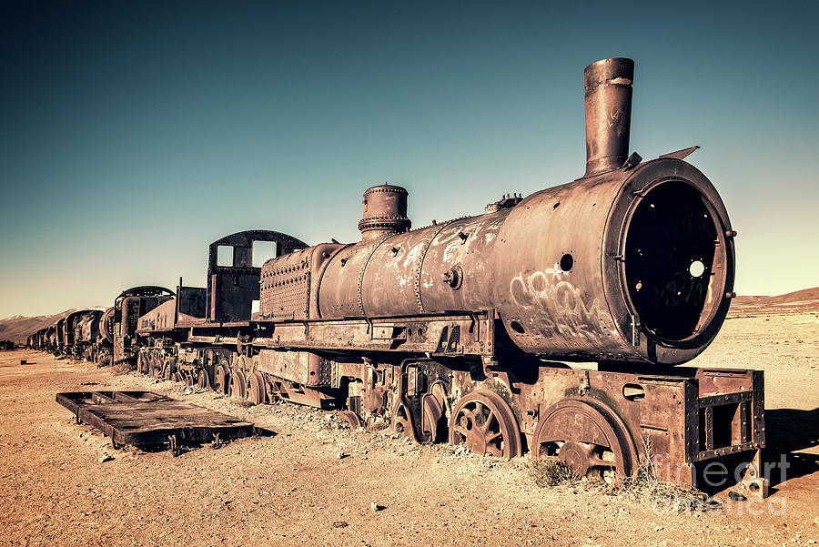 Train Photograph - Train Cemetery In Uyuni, Bolivia by Delphimages Photo Creations