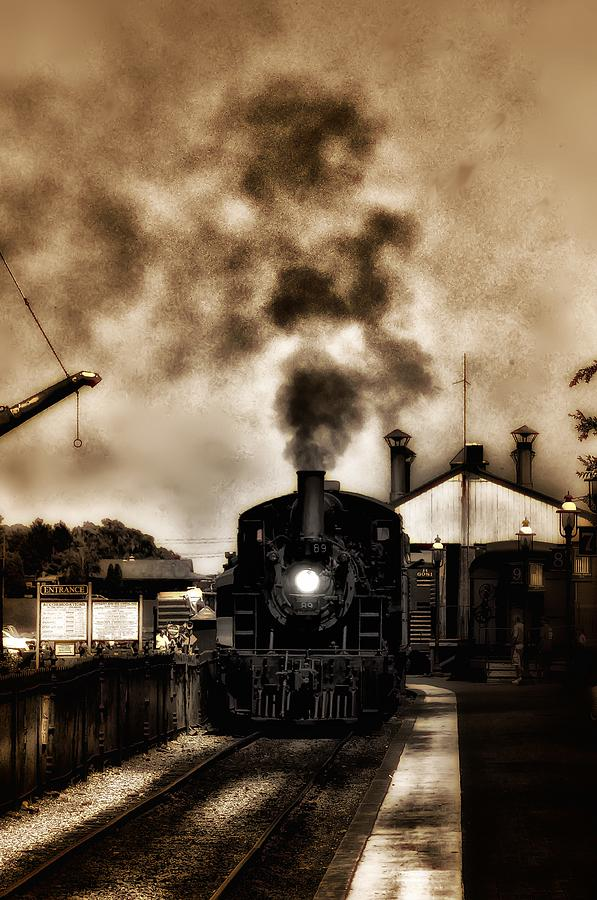 Strasburg Photograph - Train Coming In The Station by Bill Cannon
