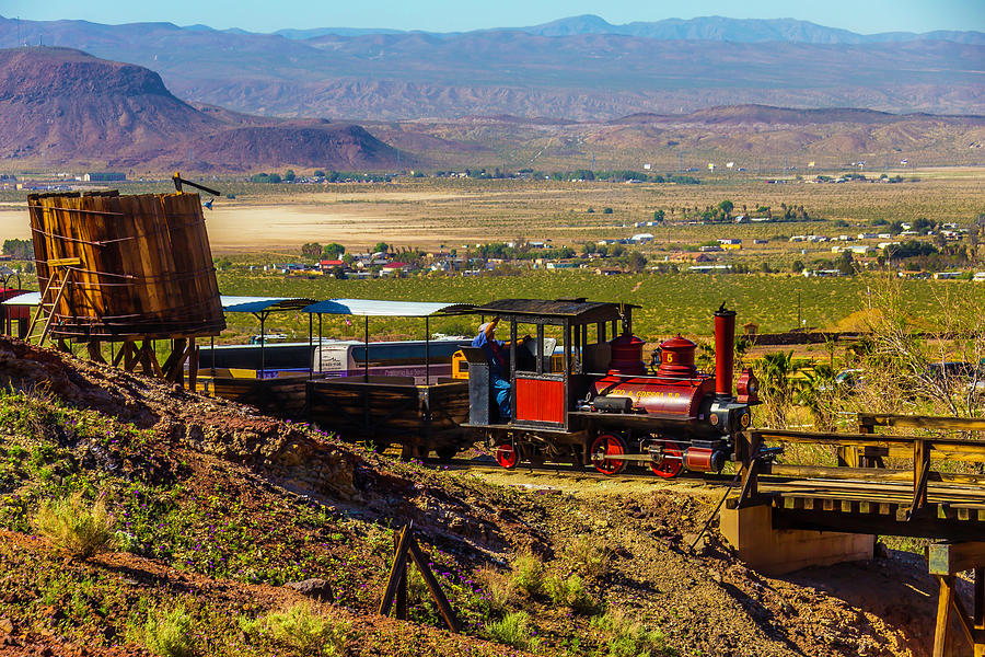 Calico Photograph - Train Coming Into The Station by Garry Gay