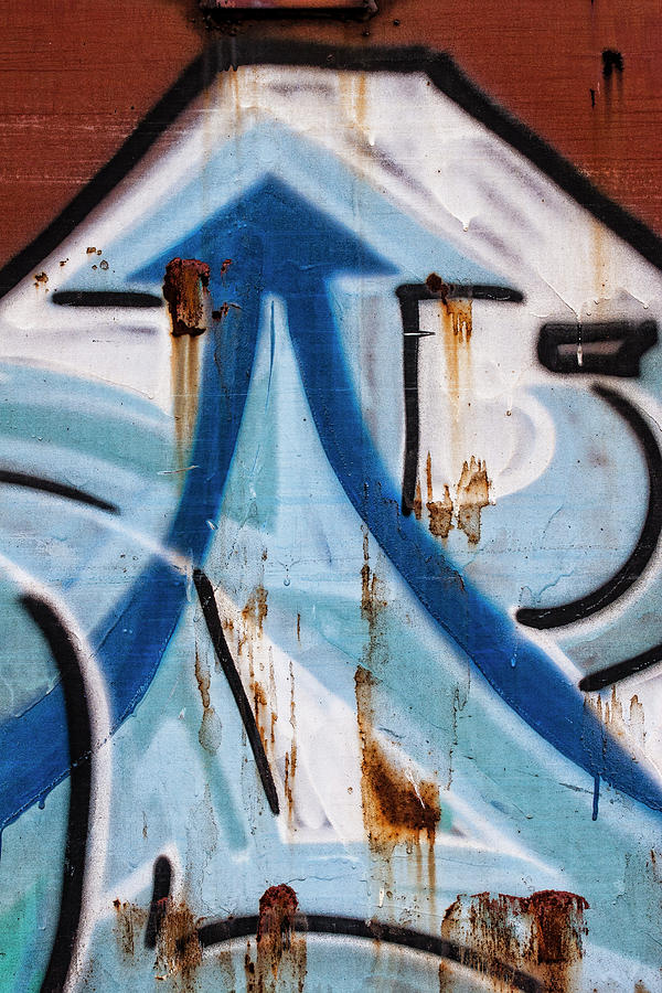 Train Photograph - Train Graffiti Double Arrow by Carol Leigh