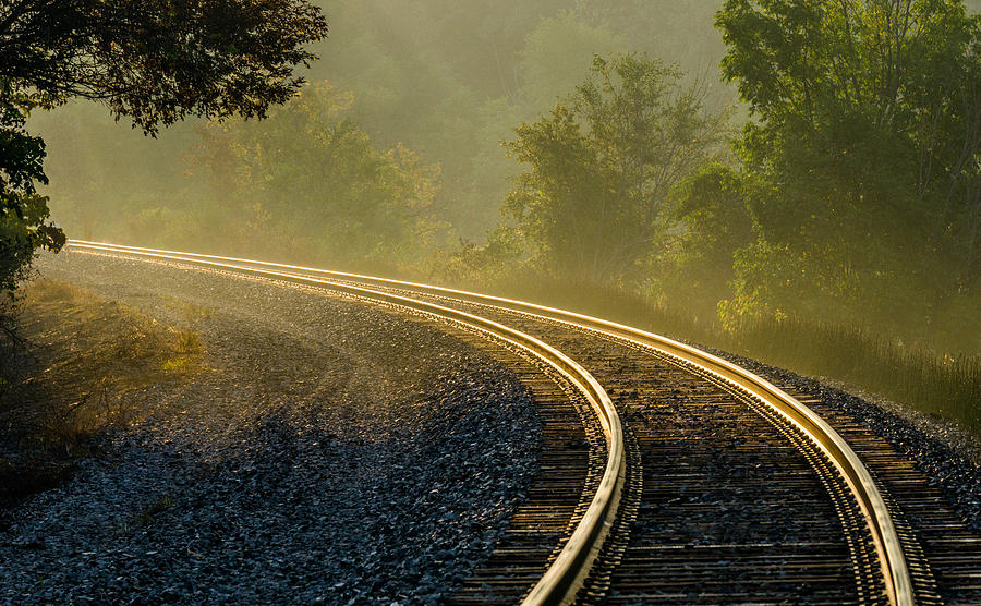 Train Track Photograph - Train Lines by Greg Croasdill