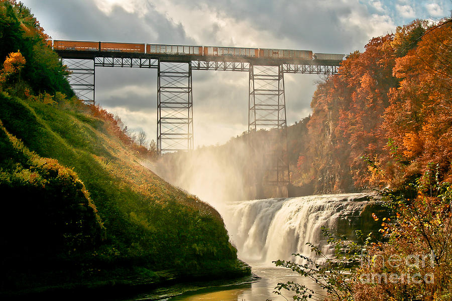Waterfall Photograph - Train Over Letchworth by Ken Marsh