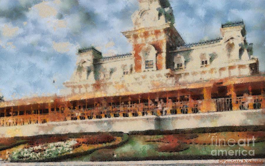 Florida Painting - Train Station At Magic Kingdom by Paulette B Wright
