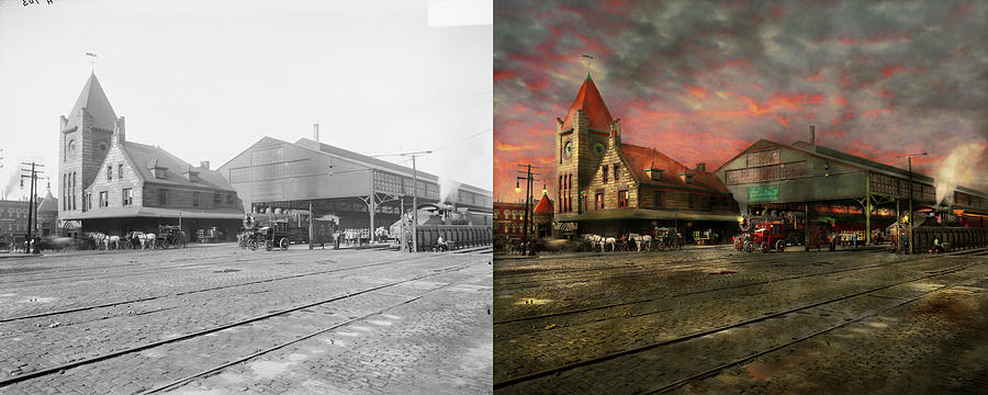 Train Station Photograph - Train Station - Ny Central Railroad Depot 1905 - Side By Side by Mike Savad