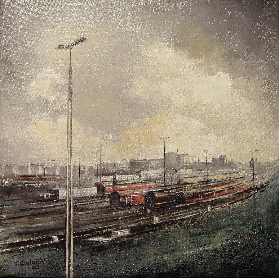 Train Painting - Train station by Tomas Castano