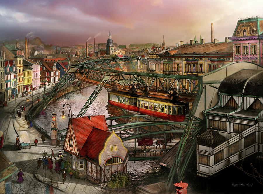 City Photograph - Train Station - Wuppertal Suspension Railway 1913 by Mike Savad