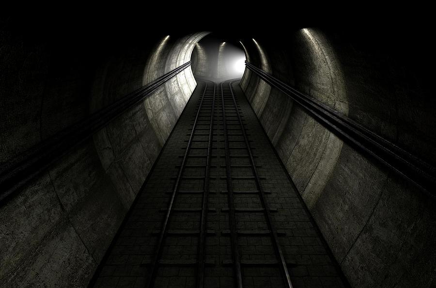 Tunnel Digital Art - Train Tracks And Approaching Train by Allan Swart