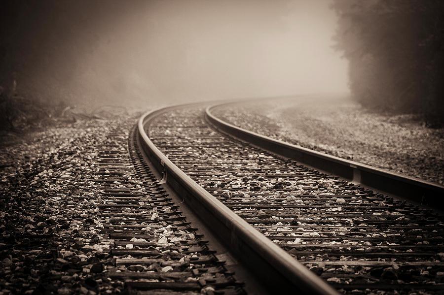 Train Tracks On A Foggy Morning Photograph