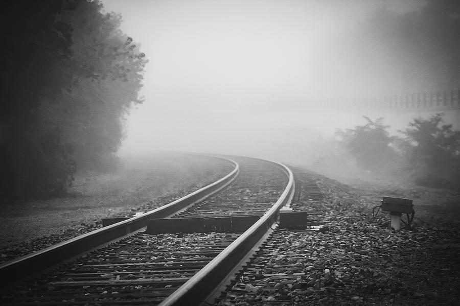 Train Tracks On Foggy Morning-black And White Photograph