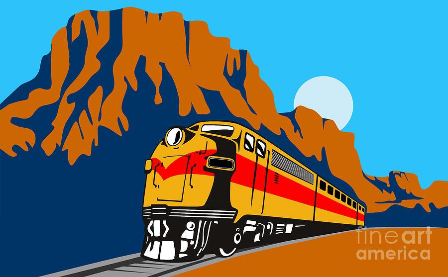 Diesel Train Digital Art - Train Traveling With Canyon by Aloysius Patrimonio