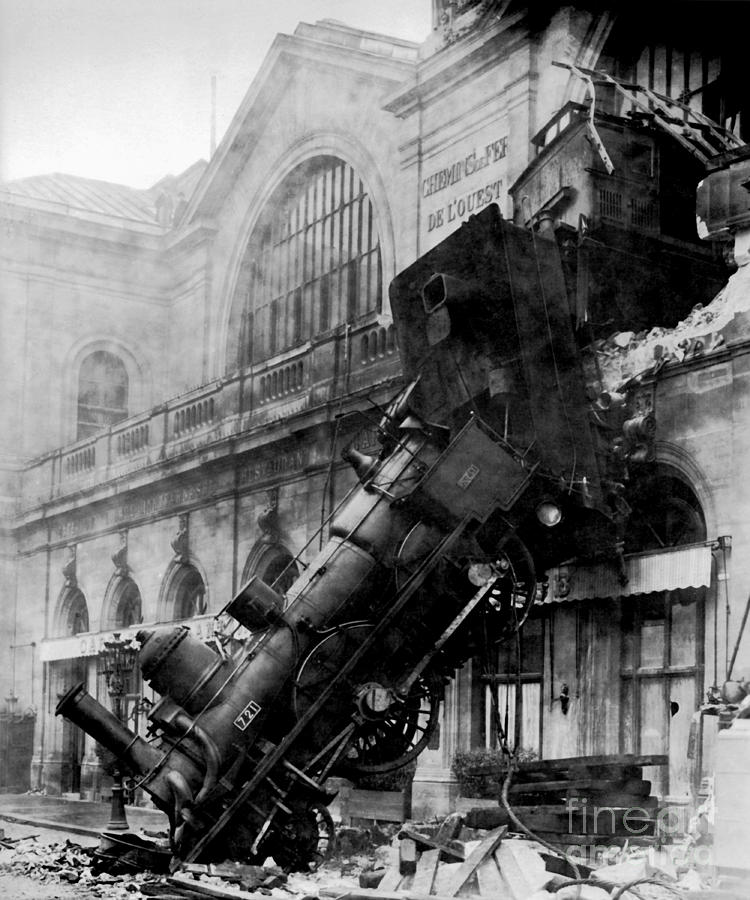 Train Wreck Photograph - Train Wreck at Montparnasse by Levy and Sons Studio by Art Anthology
