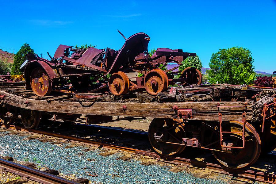 Train Photograph - Train Wreckage On Flat Car by Garry Gay