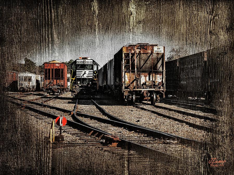 Train Photograph - Train Yard by Jim Ziemer