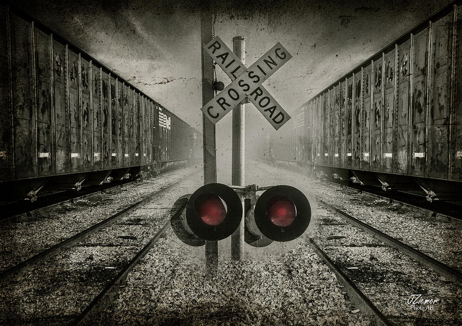 Train Photograph - Trains Crossing by Jim Ziemer