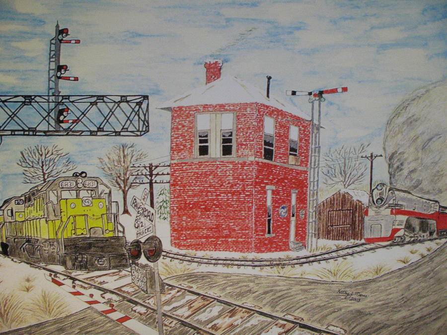 Train Painting - Trains In Motion by Kathy Marrs Chandler