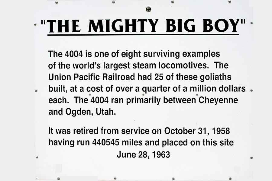 4004 Photograph - Trains Mighty Big Boy Signage by Thomas Woolworth