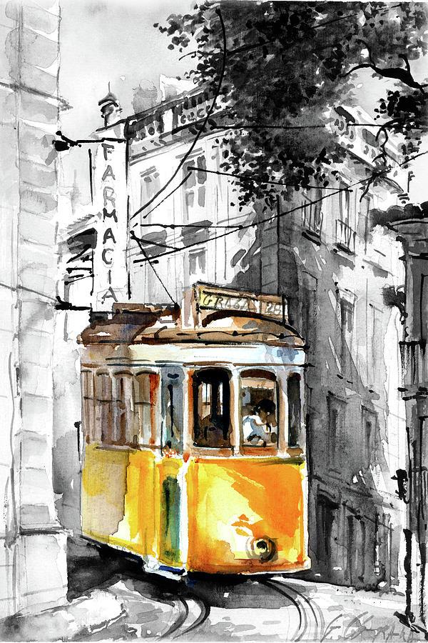 Открытка из лиссабона с трамваями, вырезками журналов