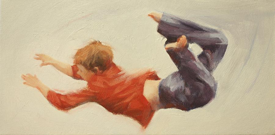 Children Painting - Trampoline Boy Part1 by Pauline Adair