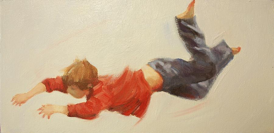 Children Playing Painting - Trampoline Boy Part3 by Pauline Adair