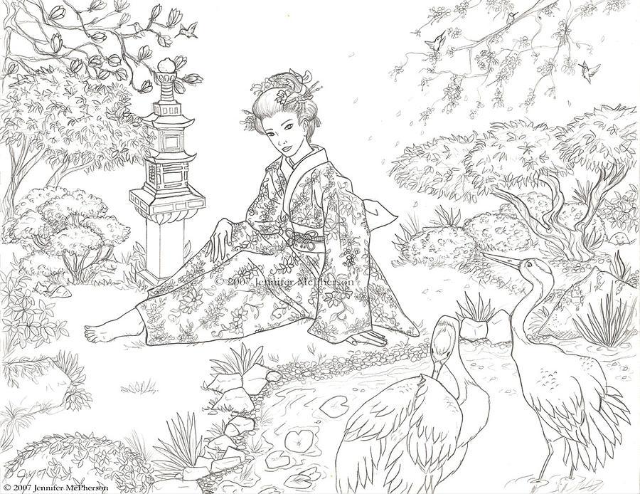 Line Drawing Garden : Tranquil garden drawing by jennifer mcpherson