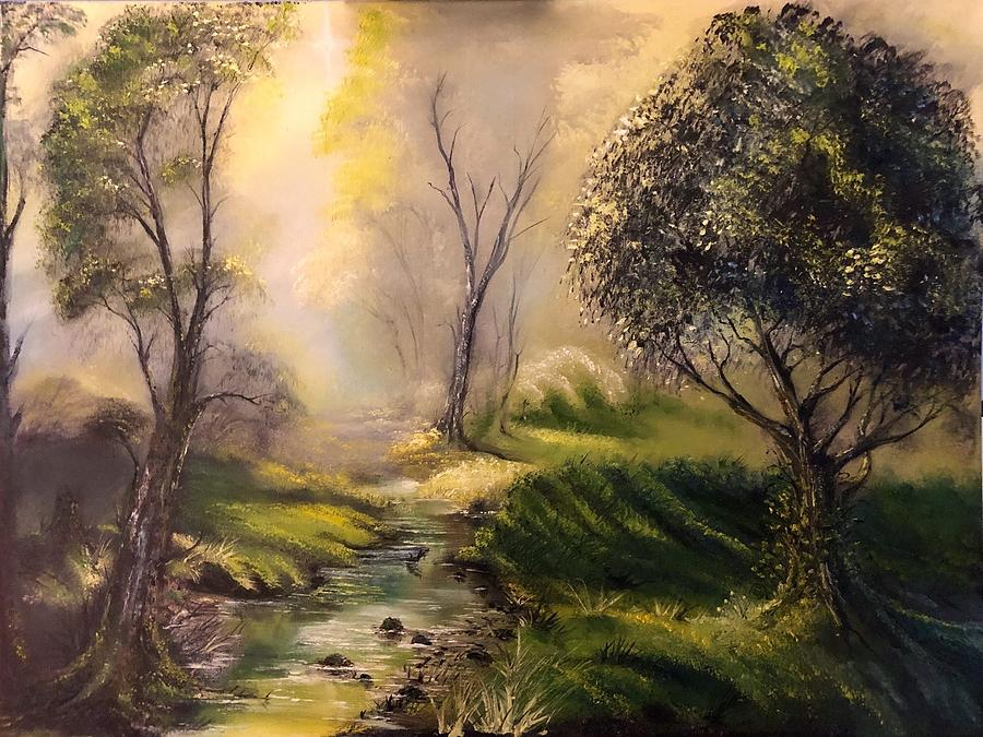 Oil Painting Painting - Tranquil Spring  by FA Chekki