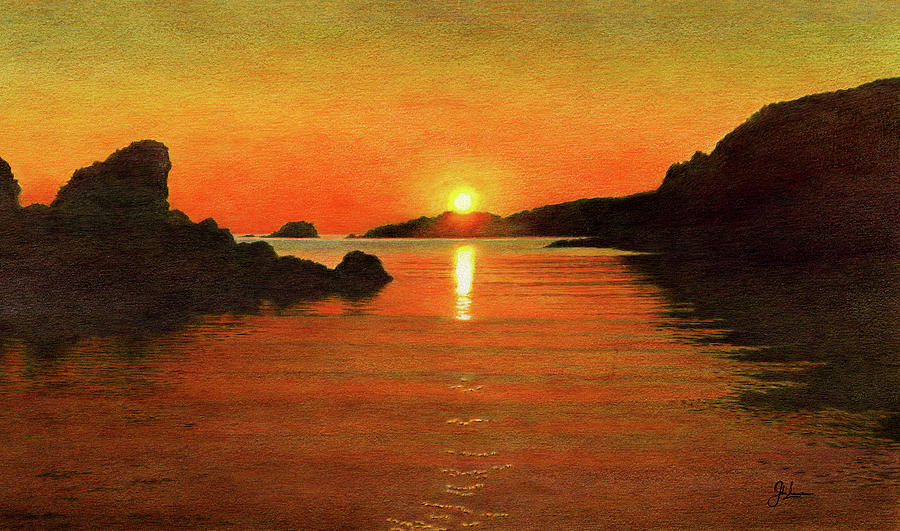 Tranquil Summer Sunset Drawing By John Birnie