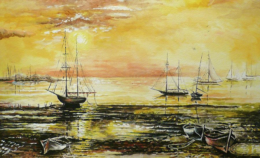 Boats Painting - Tranquil Tide by Andrew Read