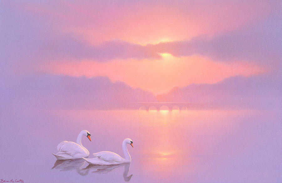 Swan Painting - Two Swans Floating on a River at Sunset by Brian McCarthy