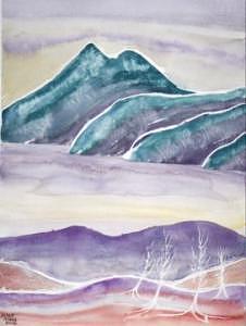 Watercolor Painting - TRANQUILITY landscape mountain surreal modern fine art print by Derek Mccrea