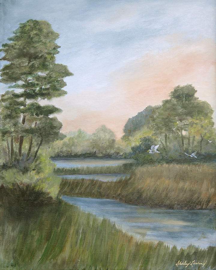 Coastal Marsh Landscape Painting - Tranquility by Shirley Lawing