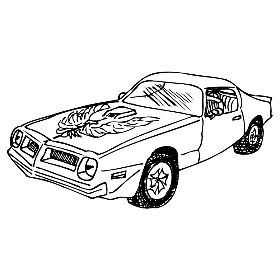 trans am car drawing by karl addison