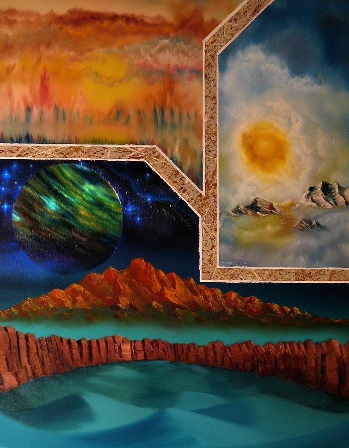 Landscape Collage Painting - Transcendental Planetary Tranquillity by Joseph Ewasow
