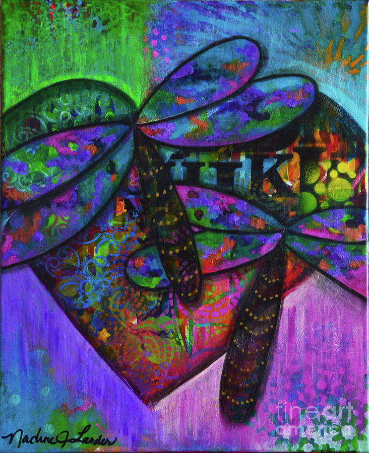 Dragonfly Painting - Transformation Happens by Nadine Larder